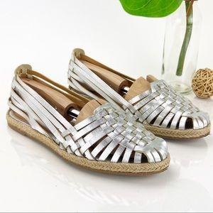 Seychelles Flat Sandals Slip On Silver Leather